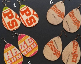 Repurposed Cardboard Beer Coaster Earrings
