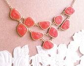 Coral Druzy Stone Bib Bubble Statement Necklace- Orange Bib Bubble Statement Necklace- Necklaces For Women- Beach Necklace- Bauble Necklace