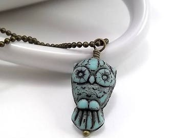 END Of SUMMER SALE Antique Brass Necklace - Turquise Owl
