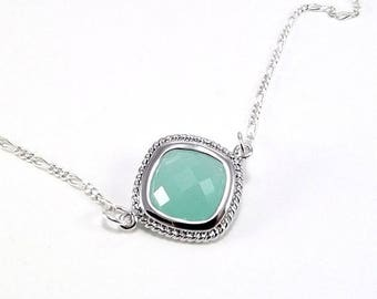 END Of SUMMER SALE Sterling Silver Necklace  - Aqua Blue Ice Diamond Glass Pendant
