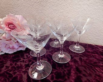 Wine Glasses Wedding Toasting Stemware Four Etched Glass Rose Design Cocktail Liquor Aperitif Cordial Vintage 1950's Home Bar Glasses