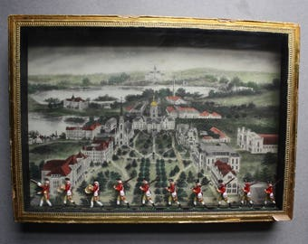 Outsider Art Diorama of University of Notre Dame and British Revolutionary War Soldiers