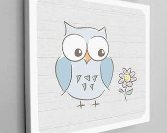 Owl Kids Room Canvas, Owl Kids Decor, Owl Nursery, Blue Owl, Nursery Decor, Blue Owl Canvas, Owl Kids Canvas, Bird Canvas Wrap, Cute Owl