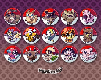 2nd Generation Normal type pokémon 38mm buttons