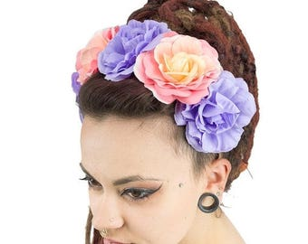 ON SALE Headband camellia big flower yellow, orange, plum, gypsy, bohemian, wedding, crown, fairy and pixie, hippie, hair flower accessory,