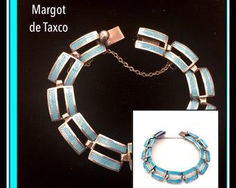 Margot de Taxco Blue Enamel & Sterling Silver Bracelet, Parallel Lines, Geometric Design, Champleve Enamel, Mid-Century Vintage, Book Piece