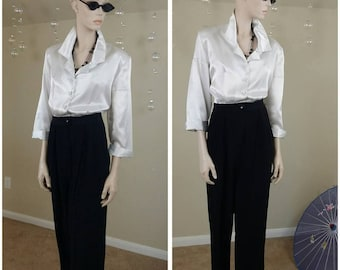 vintage 90s  white and black jumpsuit by R.j. Stevens by Carol Escritor