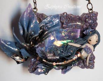 Violet Mermaid - Handamde Necklace - Polymer clay