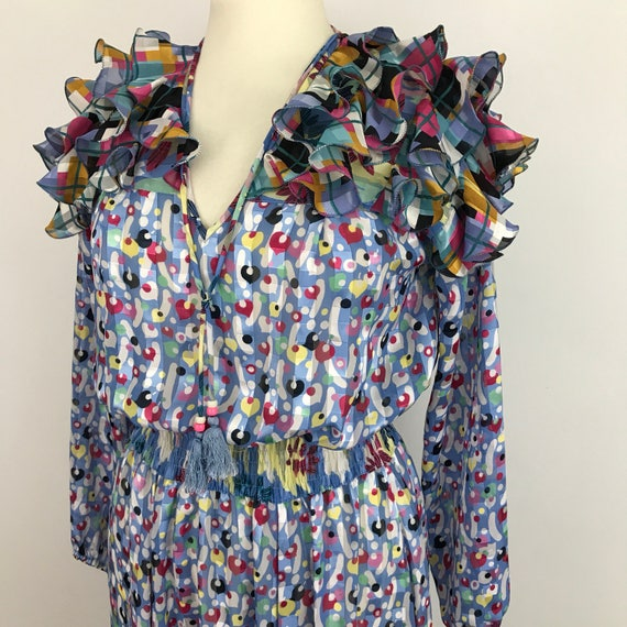 Vintage dress 1980s Diane Freis frilly colourful 80s geometric print UK 14 blue avant garde tassell frilled spotted