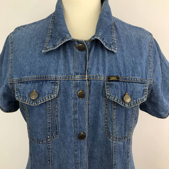 Vintage denim dress stonewashed button front long dress Lee jeans maxi UK 16 trashy 80s 90s short sleeves jean dress western style