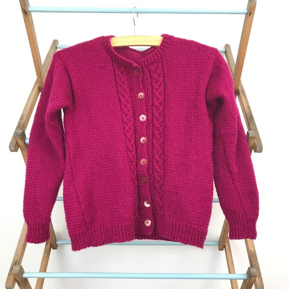 Vintage childrens wear Childs cardigan hand knitted kids top pink jumper fuscia wool knit sweater age 10 plus 1940s 1950s look handmade wool