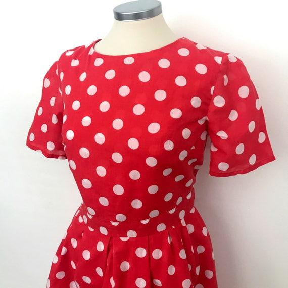 Vintage spotted dress red spotty mini dress 50s style white spots short frock UK 8 Minnie Mouse Disney 1950s Go Go