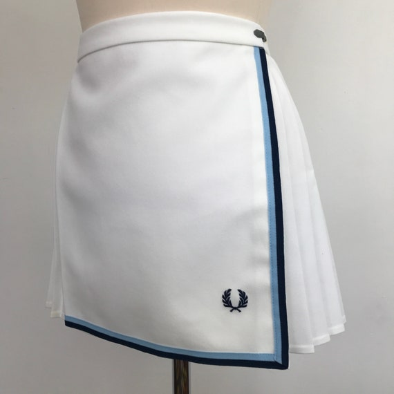 "Fred Perry tennis skirt white mini skirt Mod sports 26"" waist small vintage 1970s vintage sportswear pleated wrap"