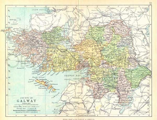 County galway 1897 antique irish county map of galway 8 x 10 county galway 1897 antique irish county map of galway 8 x 10 ins print free pp uk gumiabroncs Images