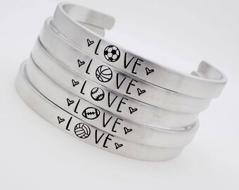 Sports , Soccer, Basketball, Baseball, Softball, Volleyball, Football, sports mom, adjustable , I Love Sports, Handstamped Jewelry