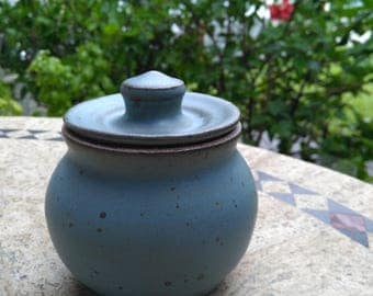 Blue Ceramic Sugar Bowl / Honey Pot Jar / Pottery Lidded Container / Kitchen Storage / Cream and Sugar