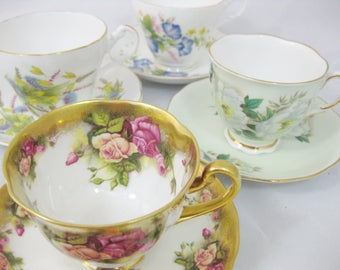 Bone China Tea Cups, Instant Collection, set of 4 Assorted Tea Cups and Saucers