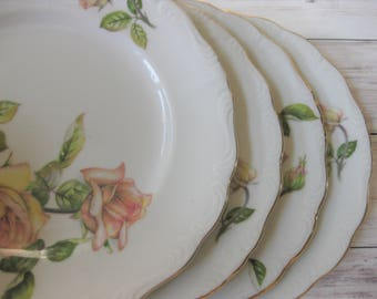 Vintage China Luncheon Plates, Japanese Porcelain Luncheon Plates, Set of 4, Rose Pattern