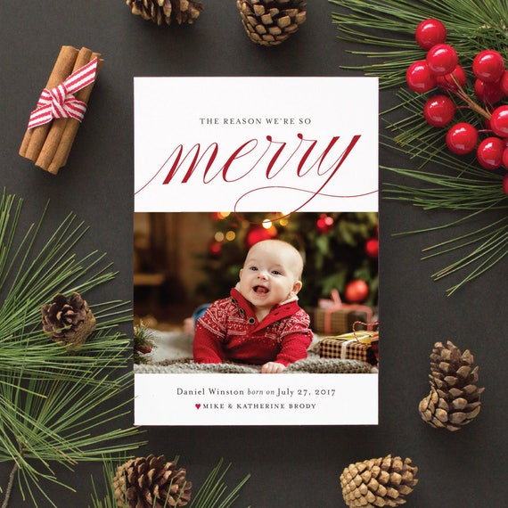 Birth Announcement Christmas Card, Photo Holiday Cards, Newborn First Christmas Photo Card, Die Cut Holiday Cards | The Reason