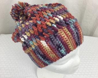 Crochet Slouch Beanie, Baby, Child, Adult Size Slouch Beanie- Hat, Ski, winter hat, Jazzed Stripes, Purple & Orange
