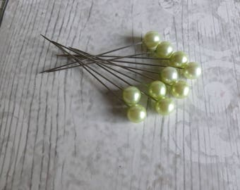 Acrylic stick pins x 10 green/silver/journalling/embellishments