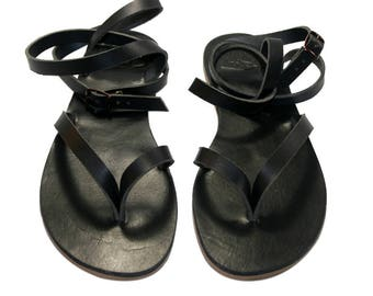 CLEARANCE Sale - Black Leather Sandals - Design 4 = EURO # 37 - Handmade by WalkaholicS