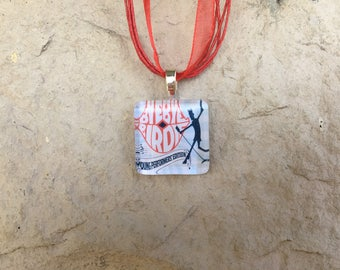 Broadway Musical Young Performers Bye Bye Birdie Glass Pendant and Ribbon Necklace