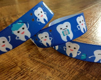 5 yards 7/8 dental ribbon. Dentist ribbon, Dental hygenist ribbon, girls grosgrain ribbon, craft, crafting, sewing, scrapbook