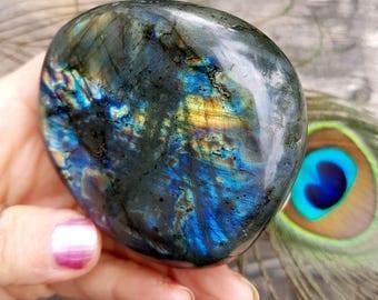 Beautiful 2-Sided Flash, Violet, Gold, Blue & Pink Labradorite Palm Stone, Madagascar - Magic, Mysticism, Intuition
