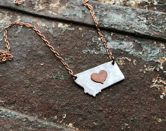 Mixed metal Montana Heart Necklace