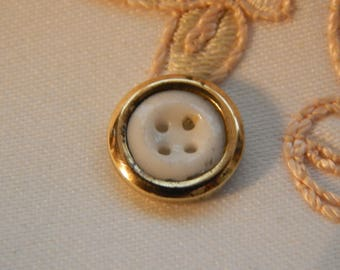 Metal Rimmed White China Antique Button