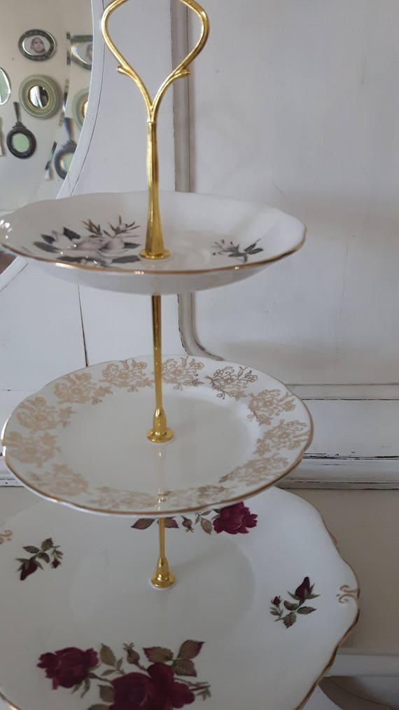 Vintage china cake stand, three tier, trinket stand, gorgeous red rose, white rose and gold floral design