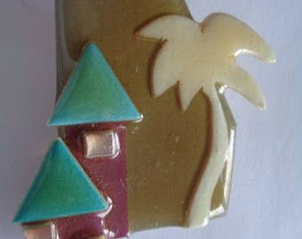 Fabulous Lucinda Houses and Palm Tree Brooch/Pin