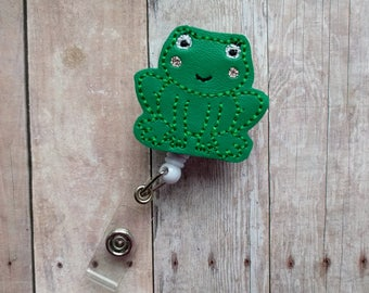 Frog Badge Clip ID Holder, Green Embroidered Vinyl, Animal Badge Reel, Choice of Clip Styles, Frog ID Holder, Made in USA, Secret Santa Gift