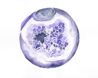 PRINT Watercolour Painting Amethyst Sphere 8 x 10 or 11 x 14