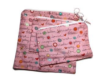 Reusable Sandwich Snack Bags set of 3 Zipper Pink Writing