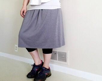 Gray Modest Exercise/Swim Skirt with Built in Leggings