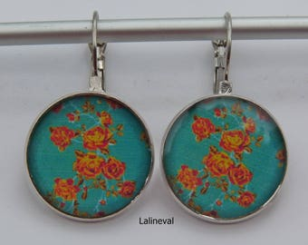 Earrings blue with orange flowers