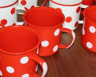 Red and white polka dot enamelware tin cups enamelware mugs April Cornell 18 ounce mugs cups set of 6 - 3 red and 3 white