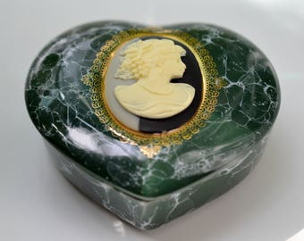 Heart Shaped Cameo Trinket Box Mount Clemens Pottery