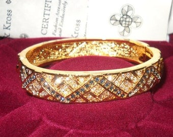 Jackie Kennedy 24K GP Bracelet - Zig Zag Bangle with Stones, Box and Certificate