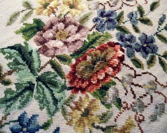 Needlepoint Floral  PIllow  Cover Face