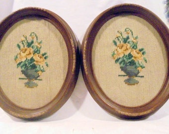 Needlepoint Pair Floral Oval Pictures