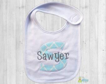Monogrammed Baby Bib, Personalized Bib, Appliqué Bib, Baby Feeding, Baby Shower Gift, Cotton Baby Bib, Baby Boy Gift