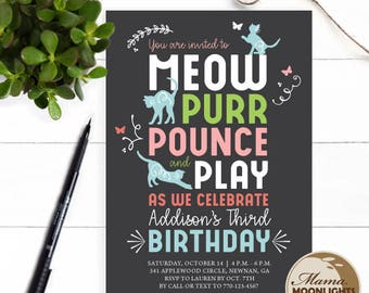 Kitty Birthday Party Printable Invitation - DIY - Best Girl Birthday Invitation Cat Pink Mint Blue Chalkboard - 1st 2nd 3rd 4th 5th 6th etc
