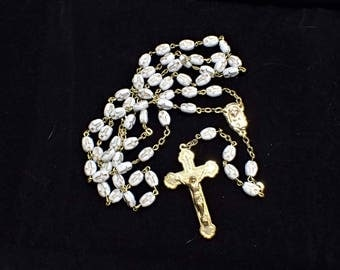 Rosary White Oval Glass Beads with Etched and Gold Painted Crosses Made In Italy Catholic Holy Communion