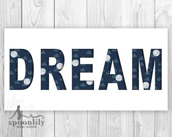 DREAM Word Art with Clouds & Full Moons, Kids DREAM Bedroom Sign, Kids Bedroom Wall Art, Kids Bedroom Wall Decor - Playroom Poster