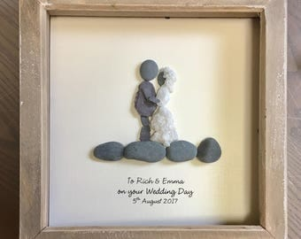 Personalised, Wedding gift, Pebble Art, unique gift, personalised, Pebble picture, rustic, home decor, stone, OOAK, wall art, beach, seaside