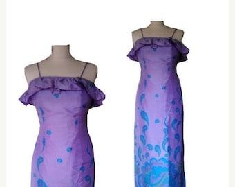 ON SALE Vintage cocktail dress purple silk asian 1960 XS S