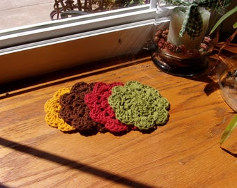 Autumn Four Coasters  Crocheted  With Bernat DeLux Cotton